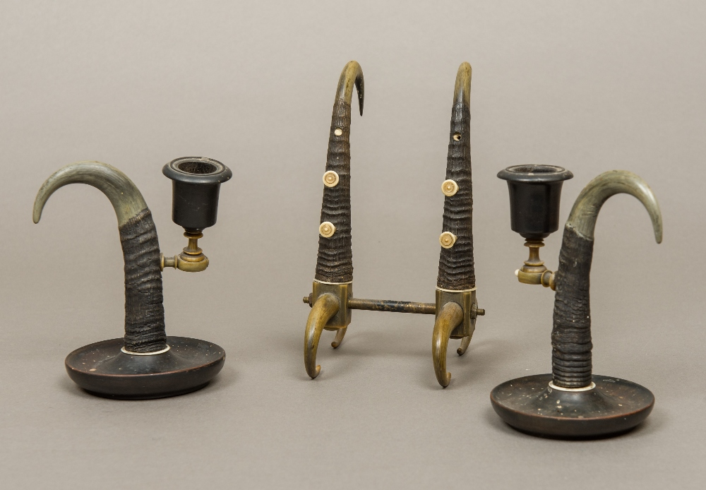 Lot 44 - A 19th century Swiss horn mounted three piece desk set Comprising: a pen stand and two