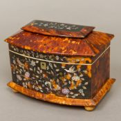 A 19th century mother-of-pearl inlaid tortoiseshell tea caddy The shaped domed hinged top enclosing