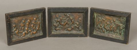 Three 19th century bronze panels Each worked in relief with a Bacchic scene, framed. 19.5 x 15 cm.