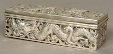 A 19th century Chinese silver box, maker's mark of Kwong Man Shing Of pierced hinged form,
