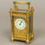 A 19th century French lacquered brass cased carriage clock by Richard & Co.