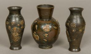 A late 19th century Japanese patinated bronze vase Of squat ovoid form,