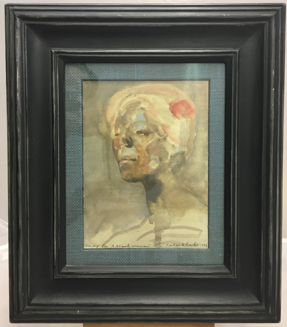 Lot 826 - PETER BLAKE RA (born 1932) British (AR) Study for 'A Black Woman' Oil on canvas panel, signed,