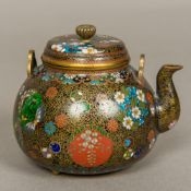 A late 19th/early 20th century Chinese cloisonne teapot Of squat ovoid form,