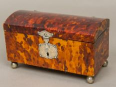 An 18th century unmarked silver mounted tortoiseshell casket The hinged domed lid enclosing the