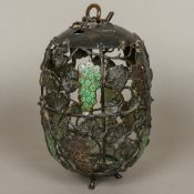 A 19th century Japanese patinated bronze and enamel decorated hanging lantern Of pierced ovoid form
