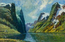 JOHN SCOTT HARRISON (19th/20th century) British Geiranger Fjord, Near Marok, Norway Oil on board,