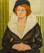 Attributed to DAVID SHANKS EWART (1901-1965) British (AR) Portrait of a Lady with Auburn Hair Oil