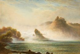JORGEN HENRIK MOLLER (1822-1884) Danish European Waterfall Scene Oil on canvas,