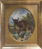 WILLIAM HUGGINS (1820-1884) British Best of Friends Oil on board, framed. 38.5 x 48.5 cm.