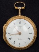 An unmarked 18 ct gold enamel decorated pair cased verge escapement pocket watch The white