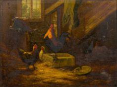 JOHAN LODEWIJK VAN LEEMPUTTEN (1840-1910) Belgian Chickens in a Barn Oil on panel,