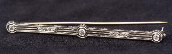 An Art Deco platinum and diamond set bar