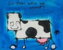 MY DOG SIGHS (20th/21st century) British (AR) It's Sheep We're Up Against! Acrylic on canvas,