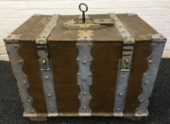 An 18th century Swedish painted metal strongbox Of hinged rectangular form with decorated exterior