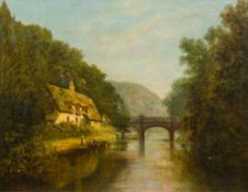 ENGLISH SCHOOL (19th century) Figures Before a Cottage and Bridge in a River Landscape Oil on