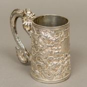 A 19th century Chinese silver tankard Of spreading form,