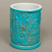 A Chinese blue glazed porcelain brush po
