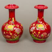A pair of Chinese red ground porcelain v