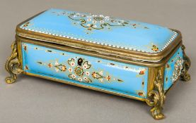 A 19th century French enamel decorated casket Of domed hinged form,