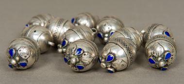 Twelve 19th century unmarked white metal