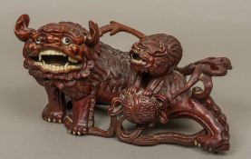A Chinese carved wooden group