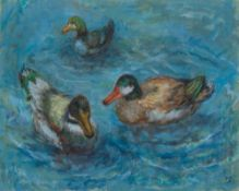 PEGGY GEDYE (20th century) British Ducks Oil on canvas, signed with initials,