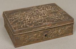 A Japanese Meiji period cast iron box