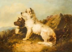 W H J HARDY (19th/20th century) British Terriers on a Heath Oil on canvas, indistinctly signed,