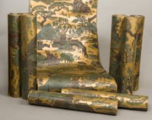 Five rolls of period, early 20th century, chinoiserie embossed decorated bronzed wallpaper 54.