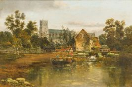 RICHARD ALLAM (19th century) British Figures Before a Mill and Church;