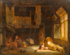JAN VAN LIL (19th century) Dutch Interior Scene Oil on panel, signed and dated 1859, framed.