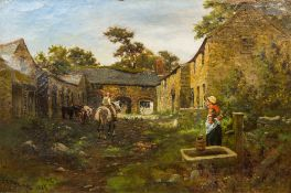 JAMES SMITH MORLAND (1846-1921) South African Farmyard Scene Oil on canvas, signed and dated 1885,