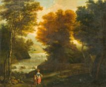 CONTINENTAL SCHOOL (17th/18th century) Figures in a River Landscape Oil on canvas, framed. 75 x 61.