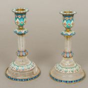 A pair of enamel decorated silver and ro