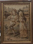 A pair of Continental needlework tapestry pictures depicting figures in rural scenes