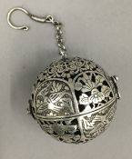A Chinese silver ball censer