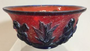 A Chinese 19th/20th century Peking glass bowl,