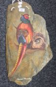 A painting of a Japanese pheasant on Chinese slate