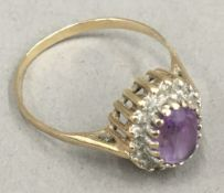 A 9 ct gold amethyst and diamond ring (2.