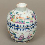 A 19th century Chinese porcelain bowl and cover, of circular section,