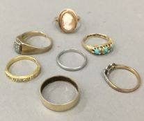 Seven various gold rings (20.