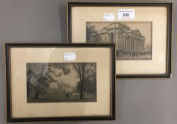Two small Cambridge etchings