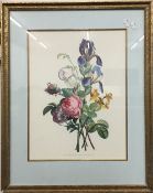 A pair of decorative botanical prints, framed and glazed,