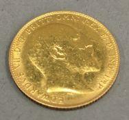 A 1910 gold sovereign
