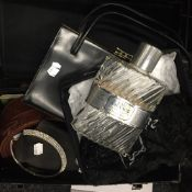 A quantity of miscellaneous items, including jewellery, handbags, a tile, etc.