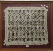 An unusual crochet panel worked with photographic portrait prints