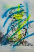 SHERLOCK (20th century) British (AR) Edwardian Lady Blue and Yellow Print, signed to verso,