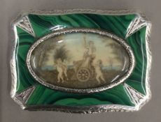 An 800 silver and silver gilt simulated malachite and oval miniature inset snuff box (87 grammes