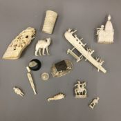 A quantity of late 19th/early 20th century carved ivory and bone